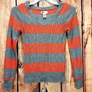 So. Cable knit Sweater Striped Orange Gray